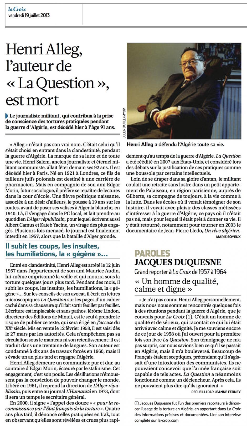 20130719-La Croix-Henri Alleg, l'auteur de « La Question » est mort