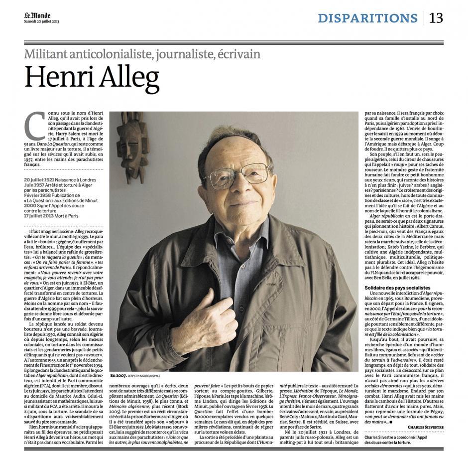 20130720-Le Monde-Henri Alleg, militant anticolonialiste, journaliste, écrivain
