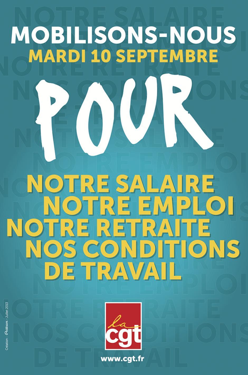 10 septembre, France - Journée nationale d'action interprofessionnelle pour notre salaire, notre emploi, notre retraite, nos conditions de travail
