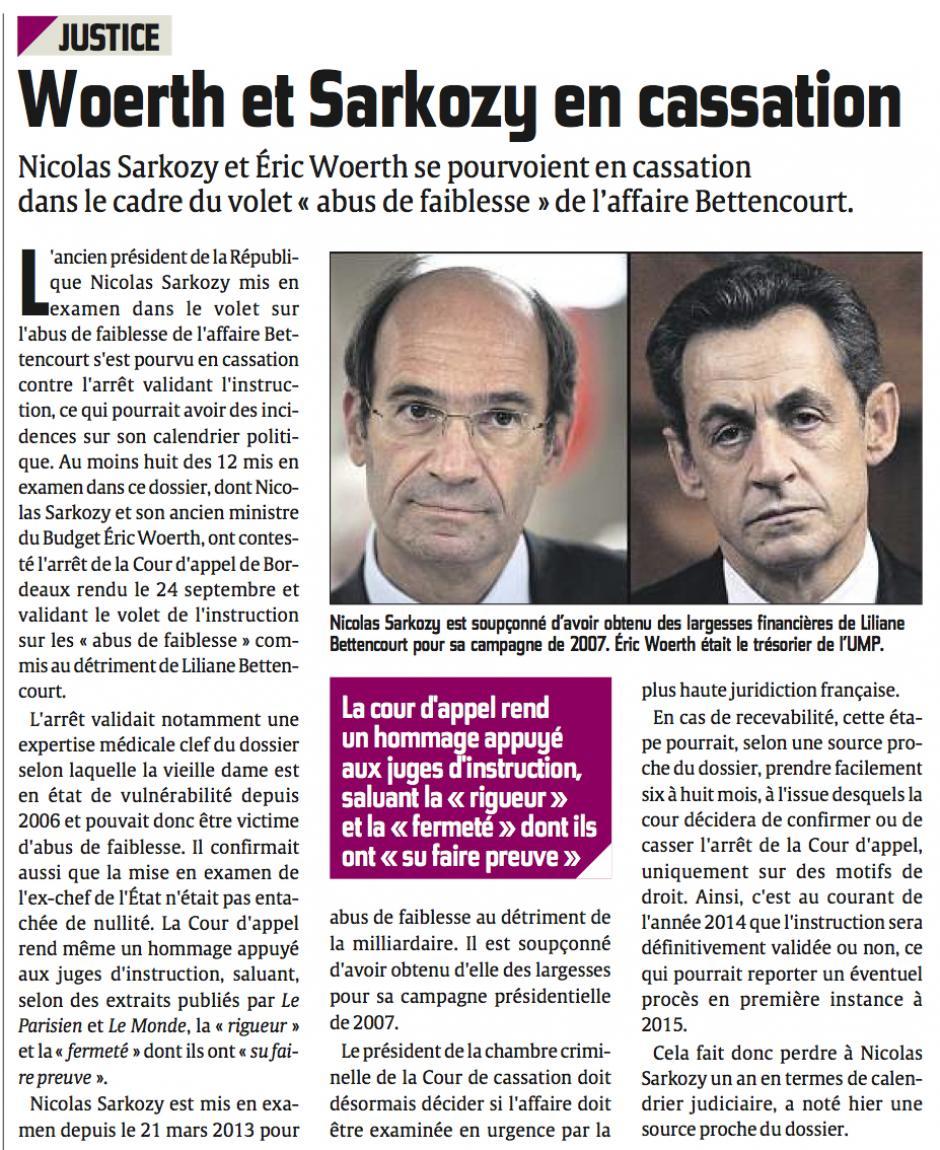 20131001-CP-France-Wœrth et Sarkozy en cassation [affaire Bettencourt]