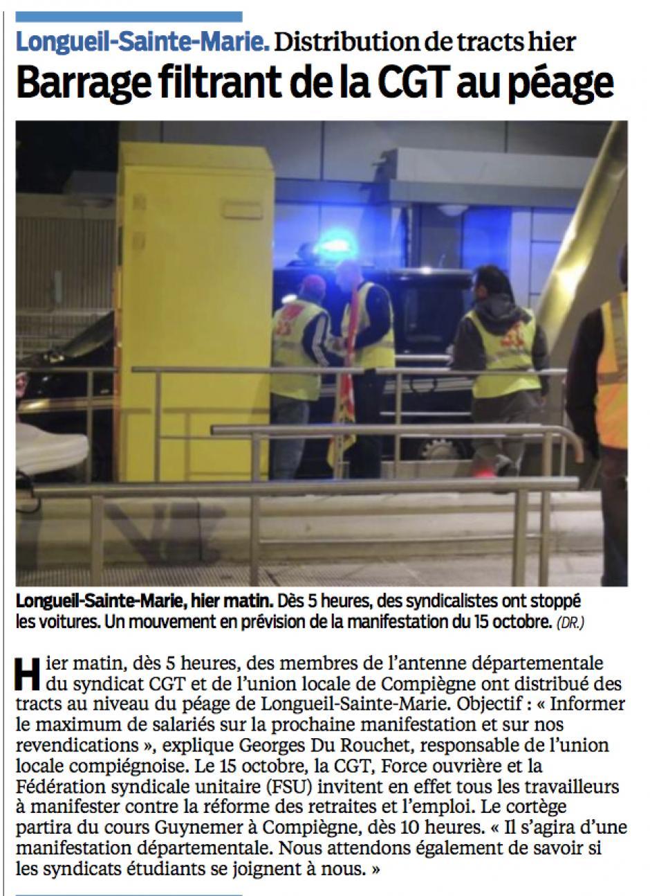 20131003-LeP-Longueil-Sainte-Marie-Barrage filtrant de la CGT au péage