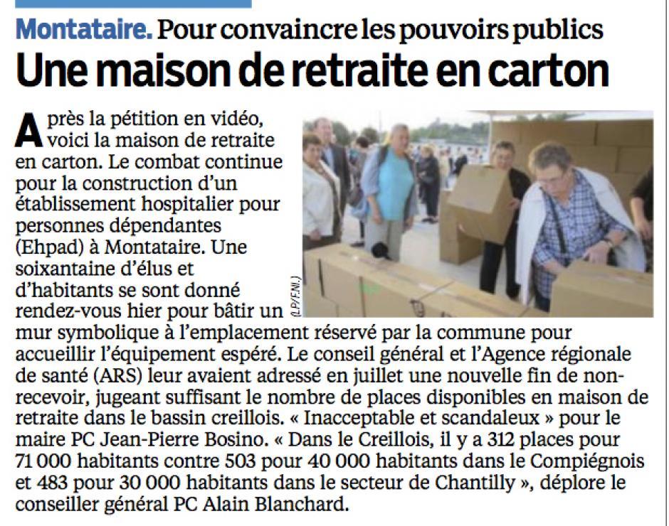 20131009-LeP-Montataire-Pour convaincre les pouvoirs publics, une maison de retraite en carton [Ehpad]