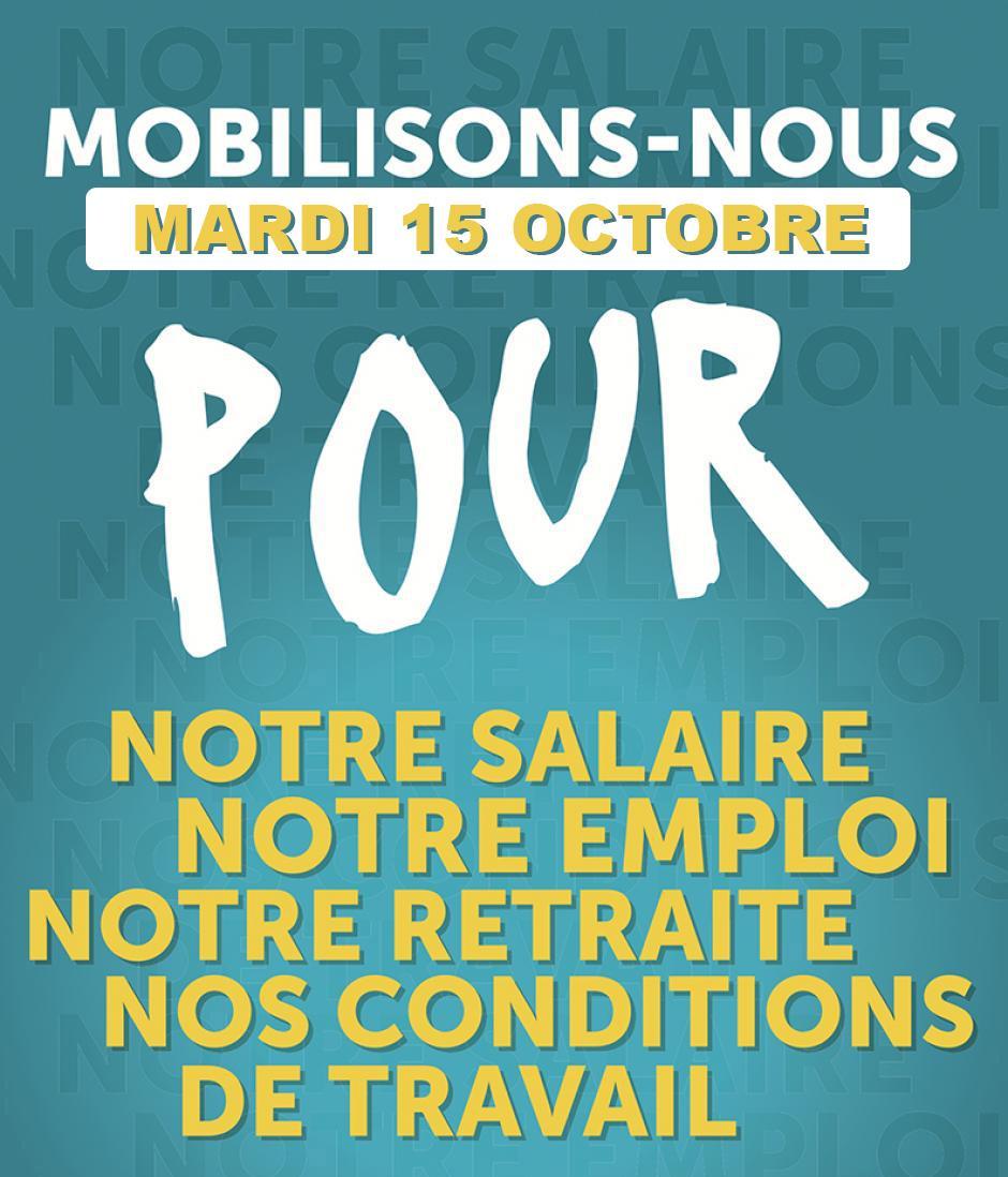 15 octobre, Paris - Rassemblement CGT-FO-FSU-Solidaires