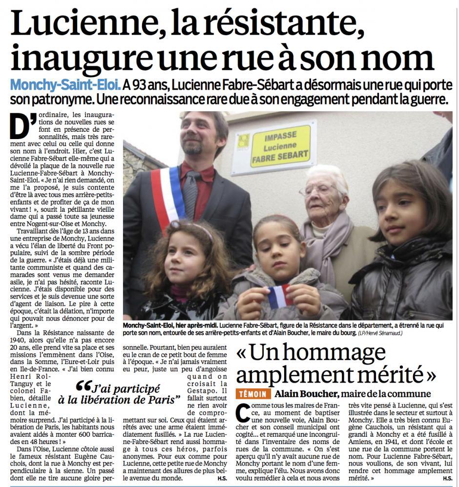 20131015-LeP-Monchy-Saint-Éloi-Lucienne Fabre-Sébart, la résistante inaugure une rue à son nom