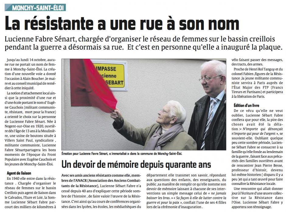 20131016-CP-Monchy-Saint-Éloi-La résistante a une rue à son nom [Lucienne Fabre-Sébart]