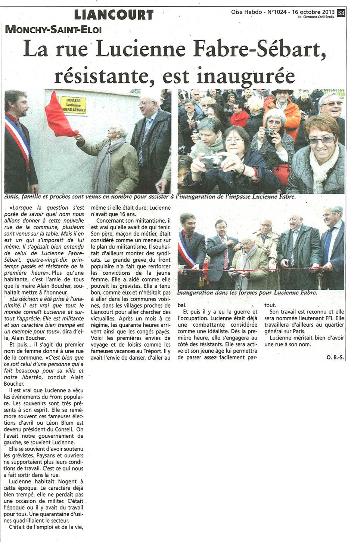 20131016-OH-Monchy-Saint-Eloi-La rue Lucienne Fabre-Sébart, résistante, est inaugurée