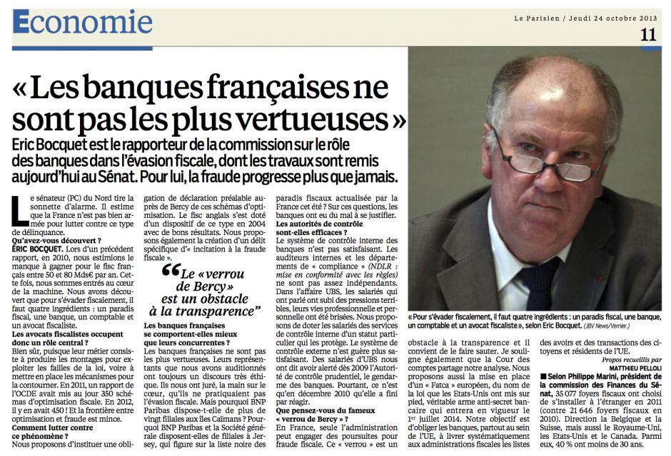 20131024-LeP-Éric Bocquet « Les banques françaises ne sont pas les plus vertueuses » [pages nationales]
