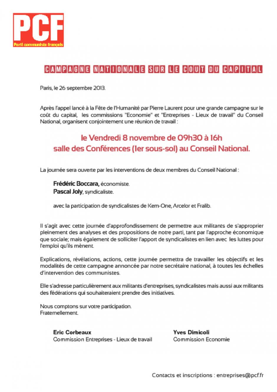 8 Novembre Paris Réunion De Travail Sur Le Coût Du Capital Pcffr