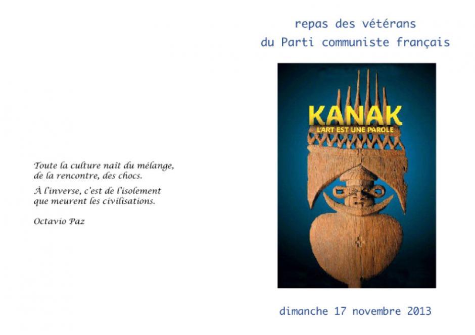 Menu du repas des Vétérans de l'Oise du PCF - Montataire, 17 novembre 2013
