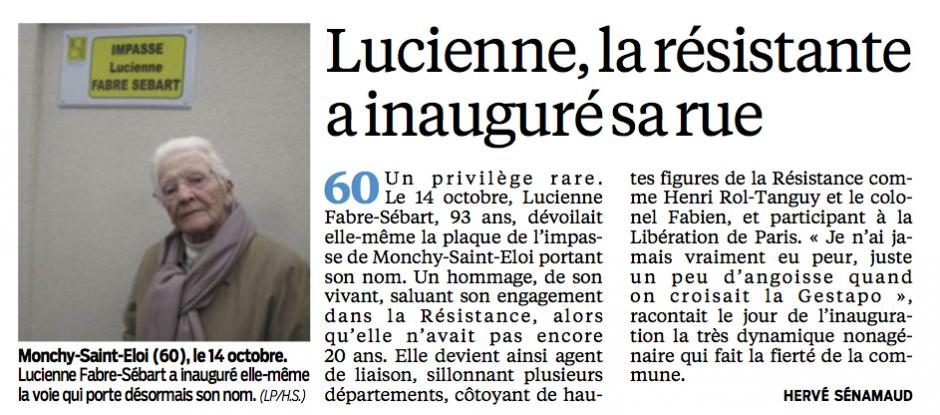 20131230-CP-Oise-Ils sont les héros de l'année : Lucienne [Fabre-Sébart], la résistante a inauguré la rue