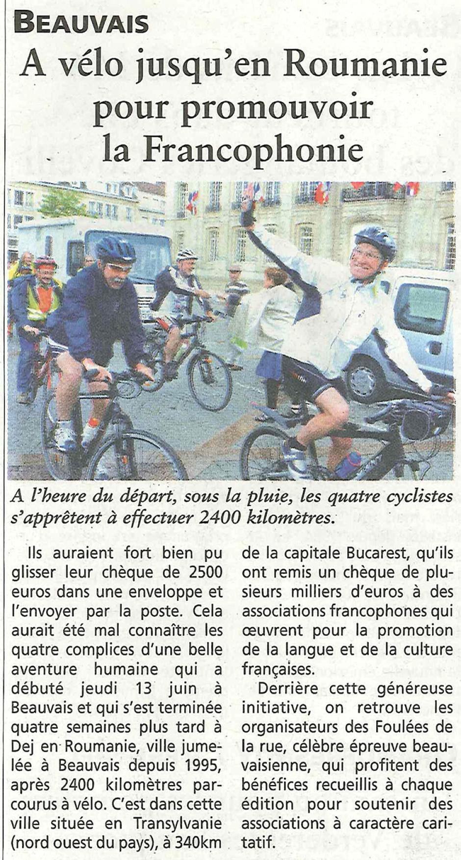 20131231-OH-Beauvais-La rétro du bonheur : À vélo jusqu'en Roumanie pour promouvoir la francophonie