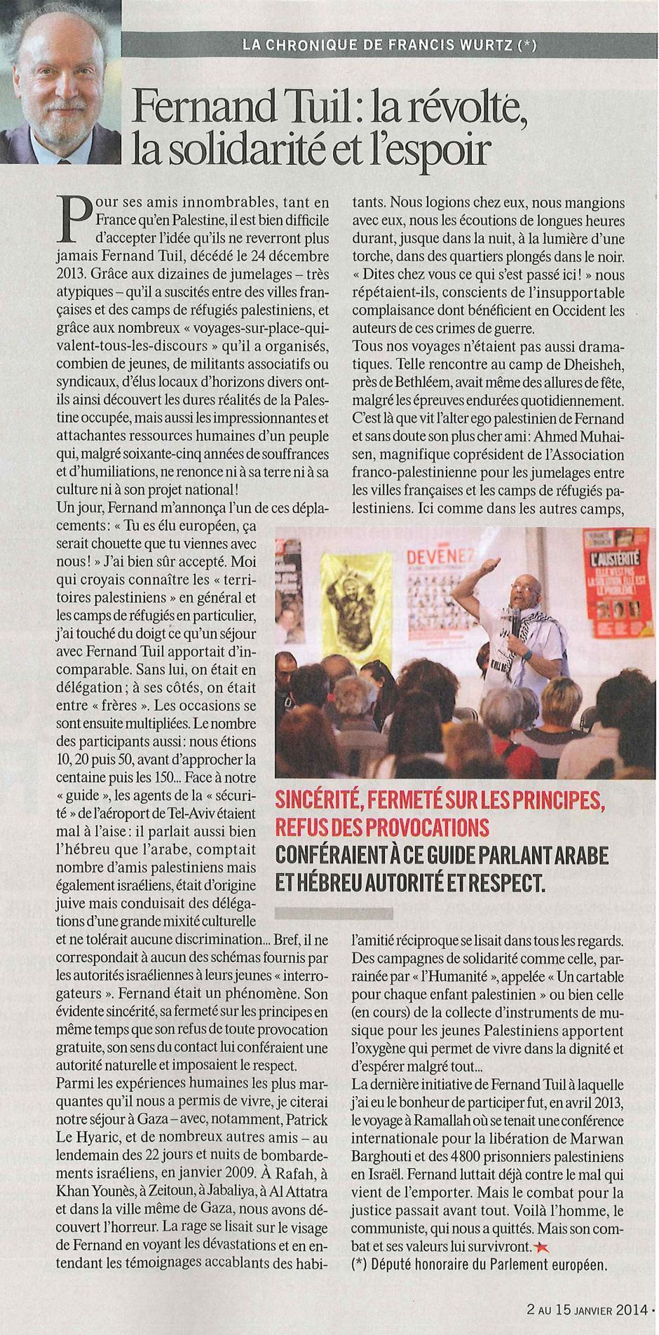 20140102-Huma Dimanche-Fernand Tuil : la révolte, la solidarité et l'espoir