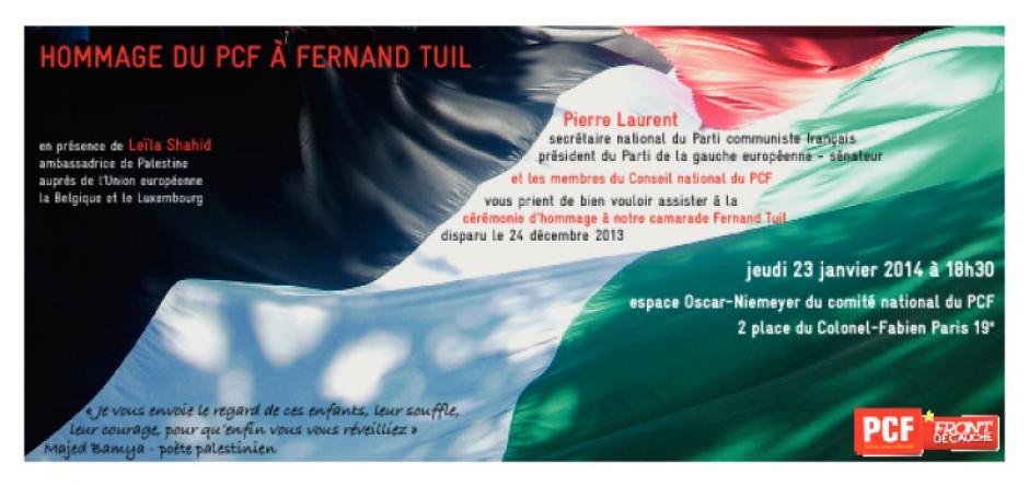 23 janvier, Paris - Hommage du PCF à Fernand Tuil