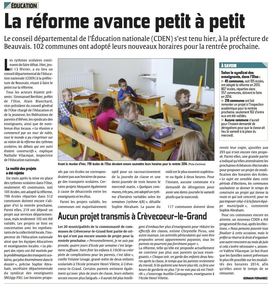 20140214-CP-Oise-La réforme avance petit à petit [Alain Blanchard, rythmes scolaires]