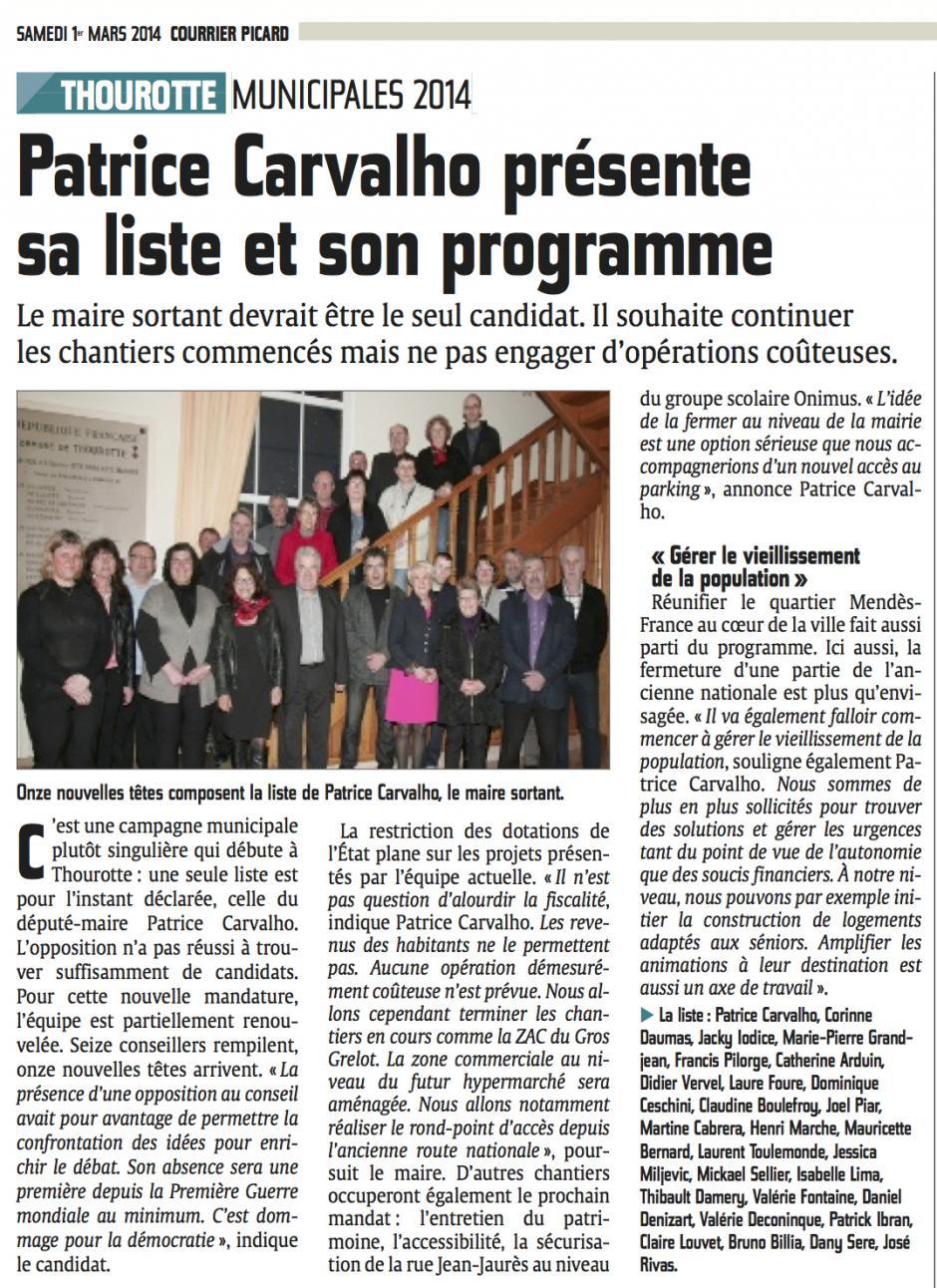 20140301-CP-Thourotte-M2014-Patrice Carvalho présente sa liste et son programme