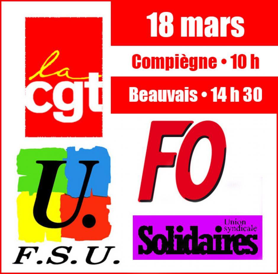 18 mars 2014, Beauvais, Compiègne - Journée interprofessionnelle de mobilisation