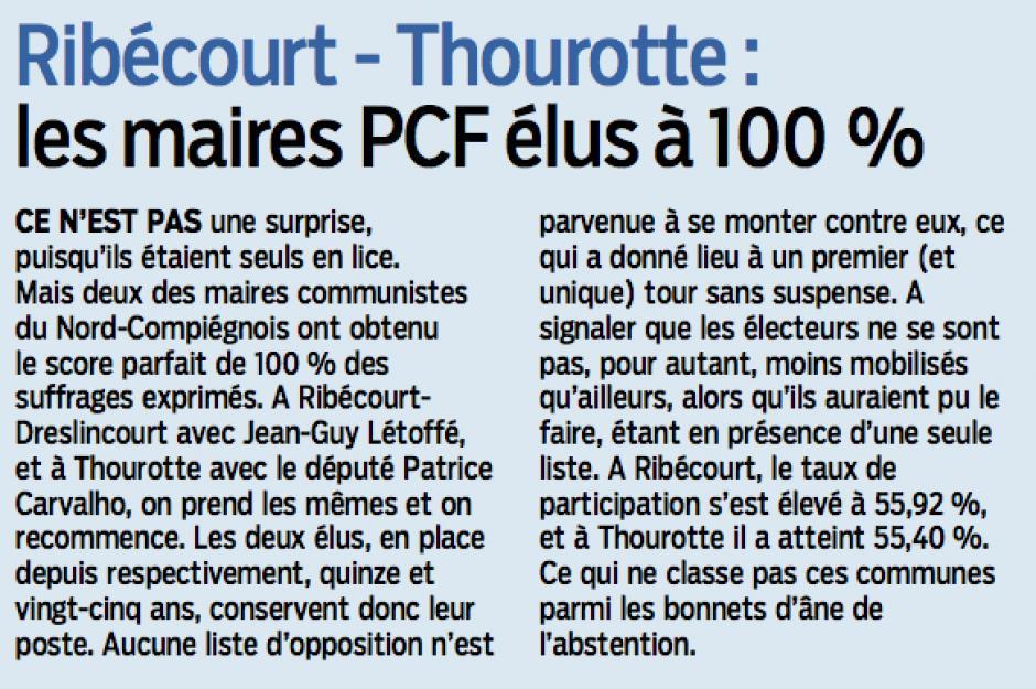 20140325-LeP-Ribécourt-Thourotte-Les maires PCF élus à 100 %