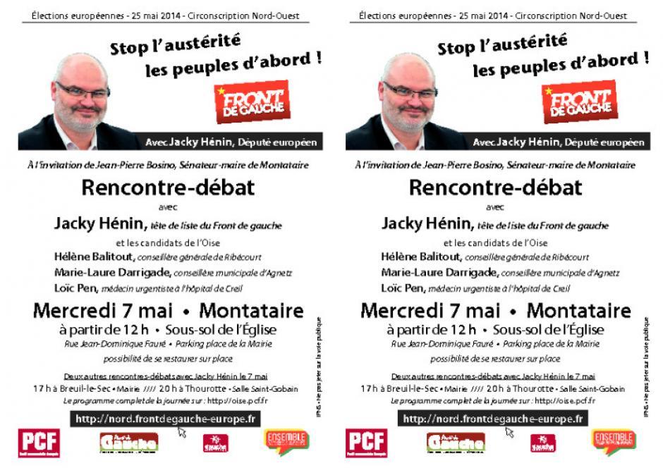 Tract annonçant la rencontre-débat avec Jacky Hénin le 7 mai à Montataire - 29 avril 2014
