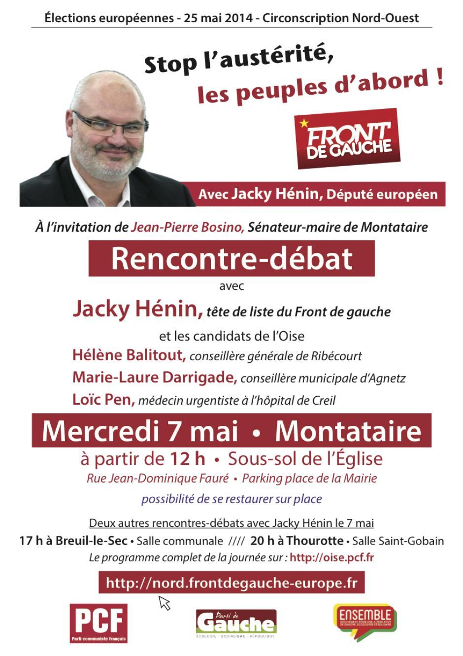 7 mai, Montataire - Rencontre-débat avec Jacky Hénin, autour d'un buffet