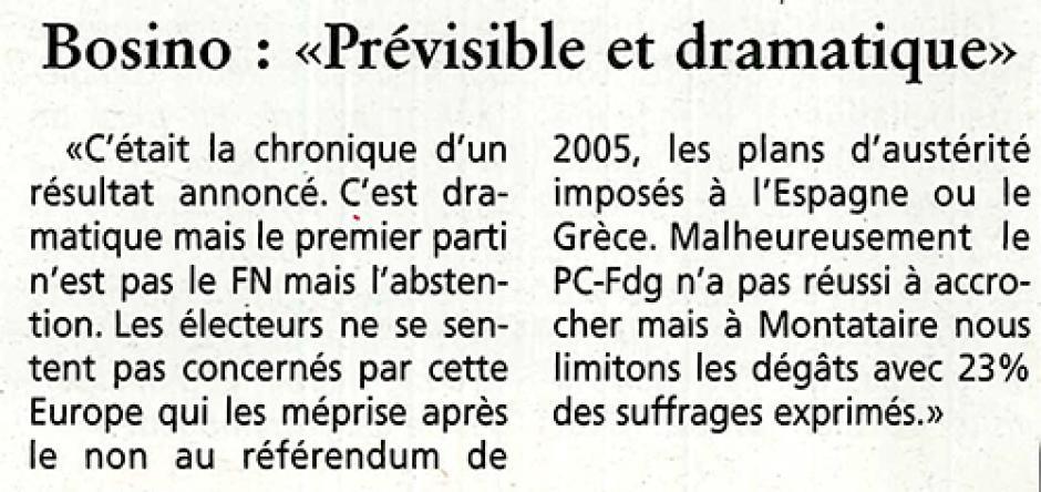 20140528-OH-Montataire-E2014-Jean-Pierre Bosino : « Prévisible et dramatique »