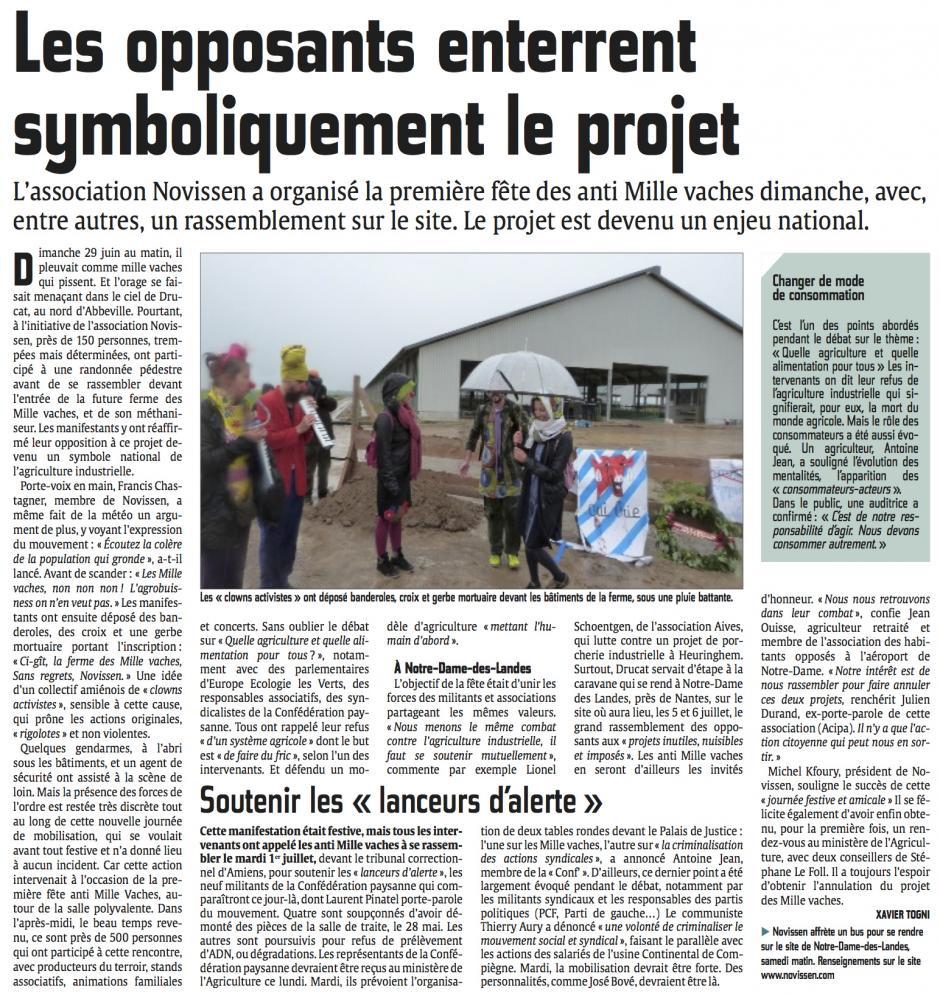 20140630-CP-Drucat-Les opposants enterrent symboliquement le projet [ferme des Mille vaches]