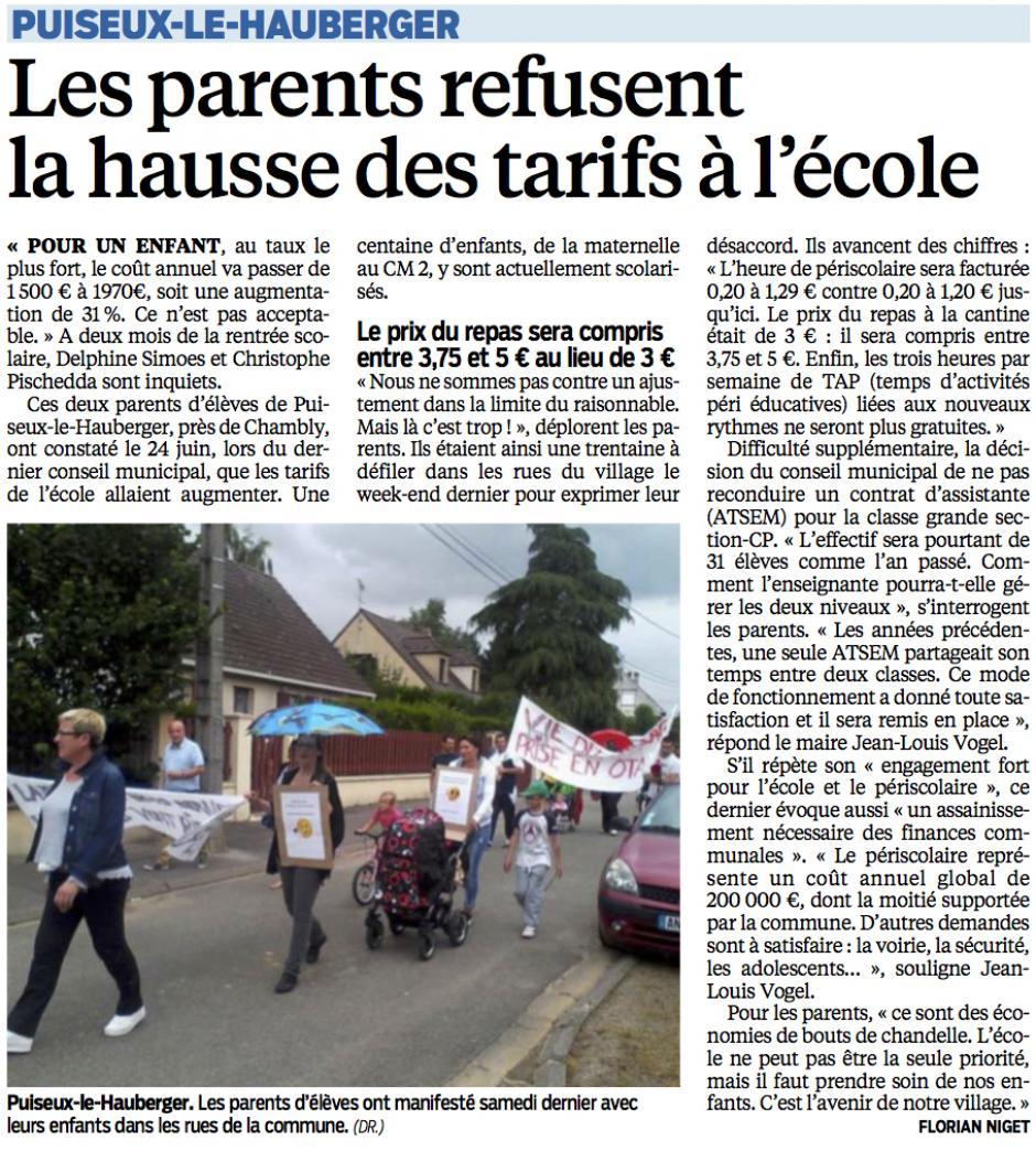 20140703-LeP-Puiseux-le-Hautberger-Les parents refusent la hausse des tarifs à l'école