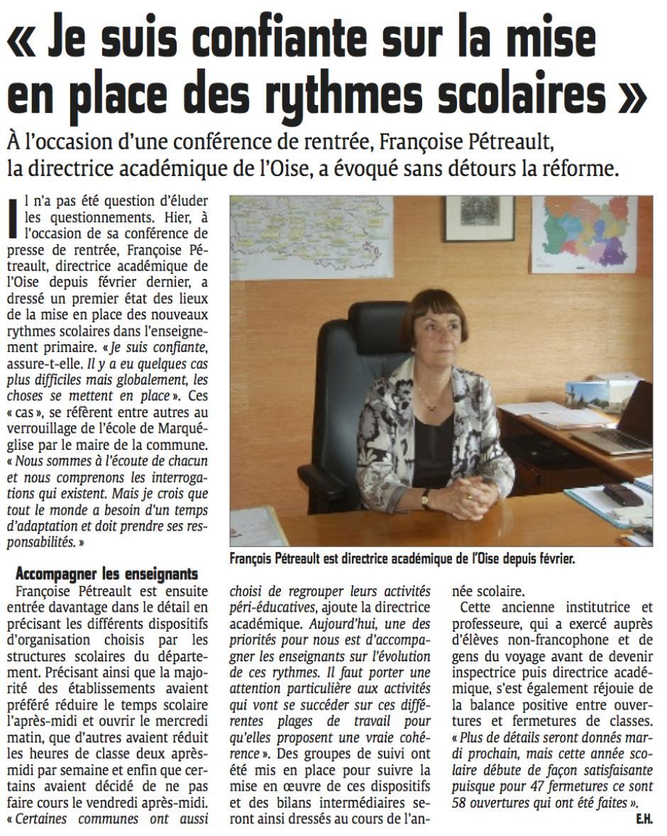 20140906-CP-Oise-La directrice académique « Je suis confiante sur la mise en place des rythmes scolaires »