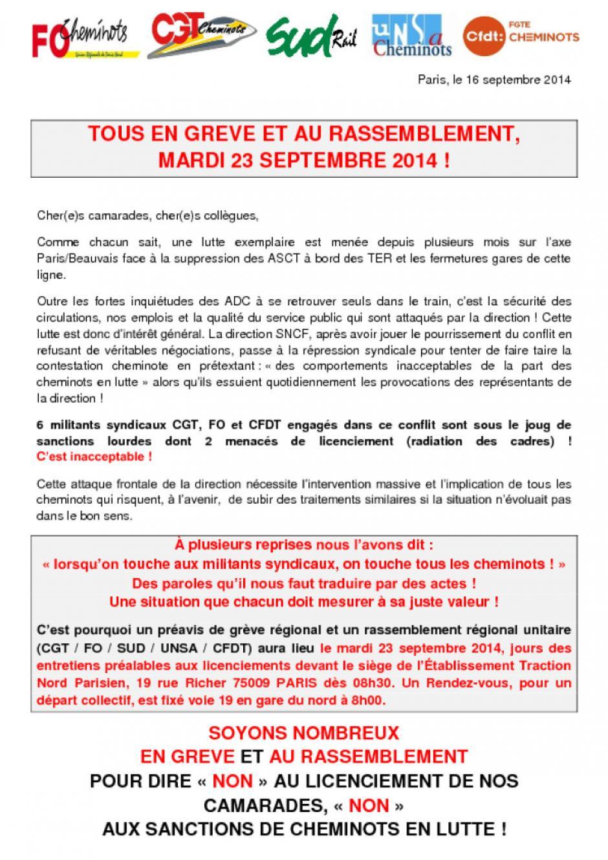 23 septembre, Paris - Rassemblement « Non aux sanctions de cheminots en lutte »