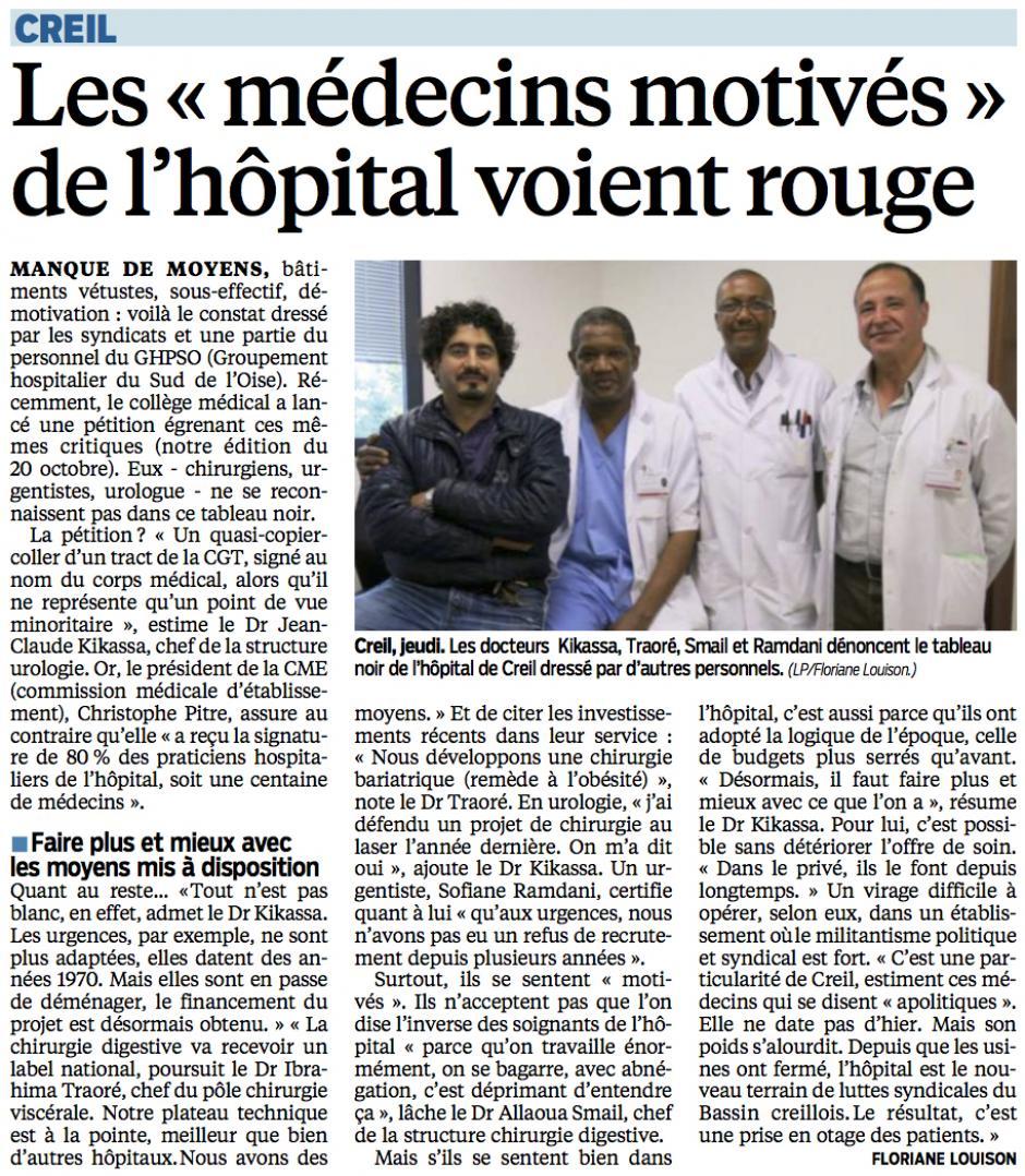 20141025-LeP-Creil-Les « médecins motivés » de l'hôpital voient rouge