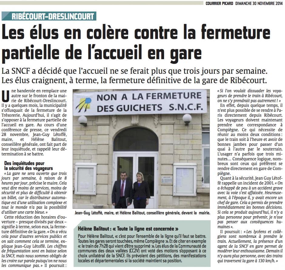 20141130-CP-Ribécourt-Dreslincourt-Les élus en colère contre la fermeture partielle de l'accueil en gare