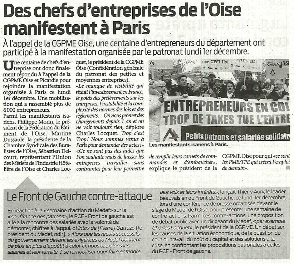 20141205-ObsBv-Beauvais-Des chefs d'entreprises de l'Oise manifestent à Paris, le Front de gauche contre-attaque