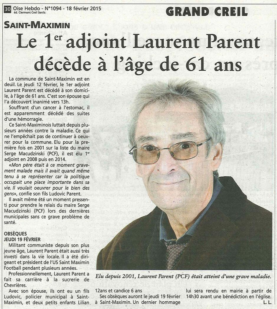 20150218-OH-Saint-Maximin-Le 1er adjoint Laurent Parent décède à l'âge de 61 ans
