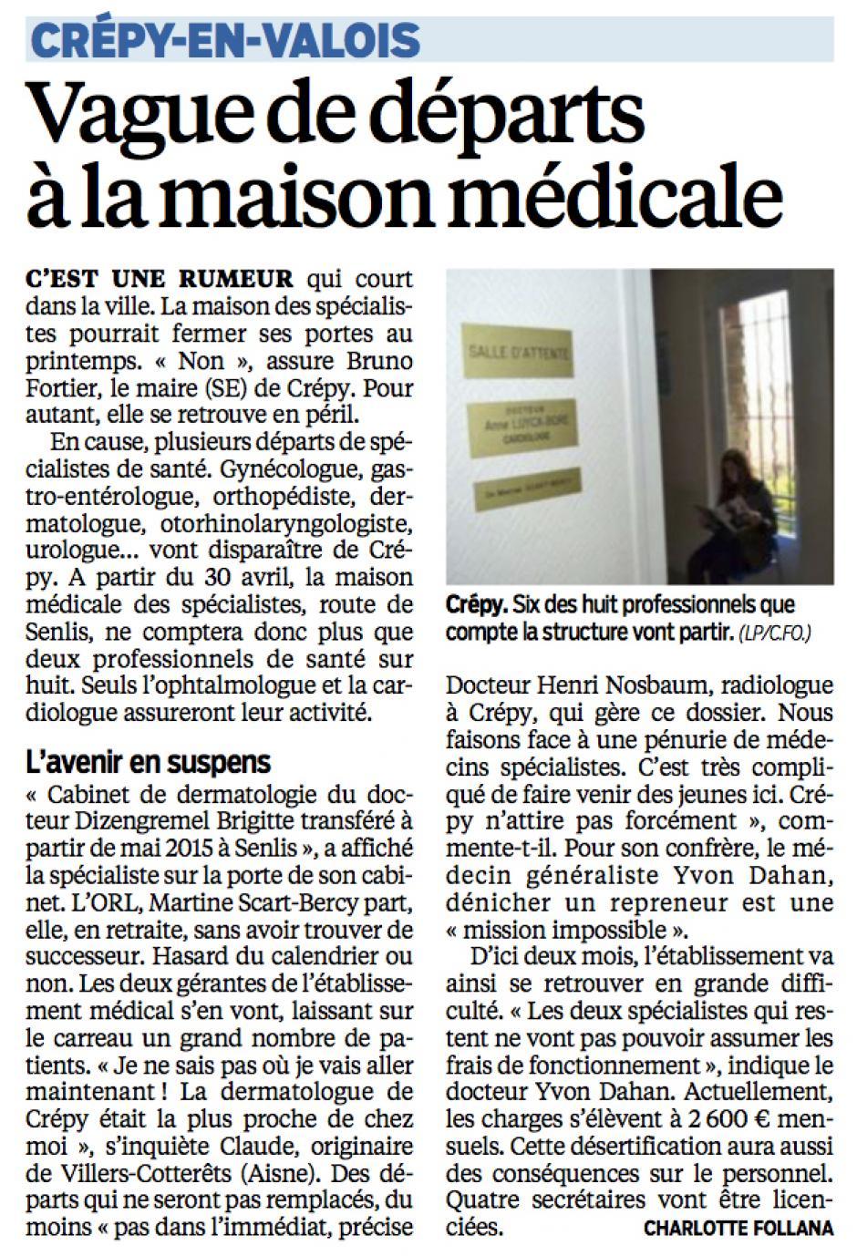 20150220-LeP-Crépy-en-Valois-Vague de départs à la maison médicale