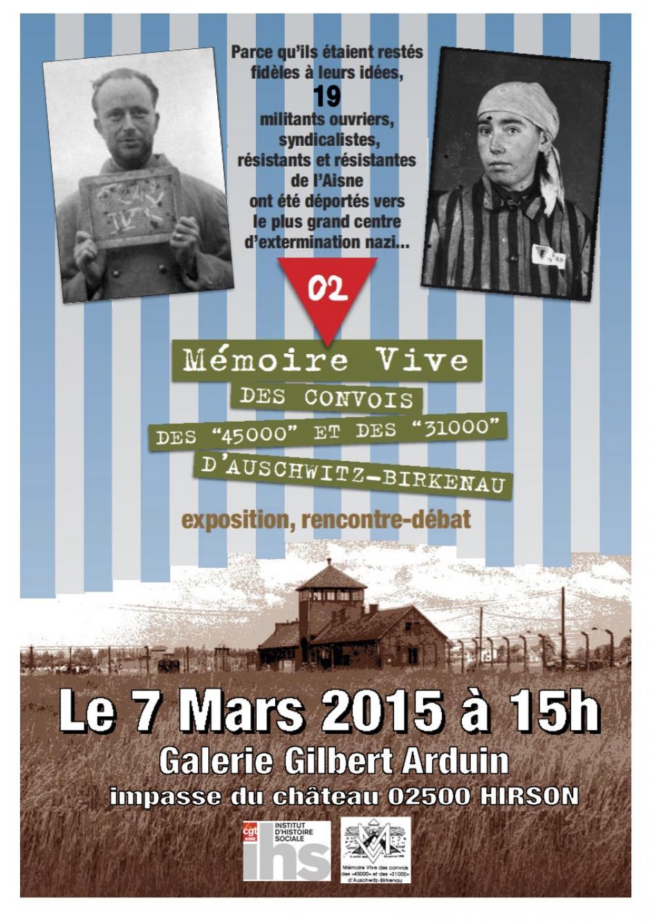 7 mars, Hirson - IHS CGT & Mémoire Vive-Rencontre-débat «Les convois des 45000 et des 31000, des résistants à Auschwitz et les 19 de l'Aisne »