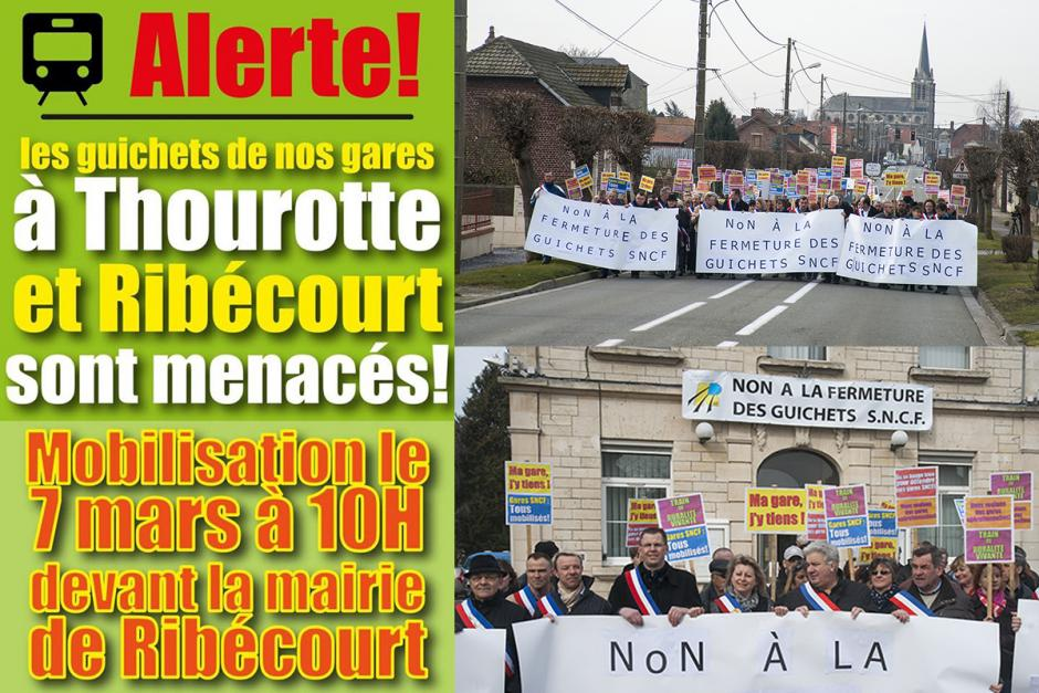 Non à la fermeture des guichets SNCF ! - Ribécourt, 7 mars 2015