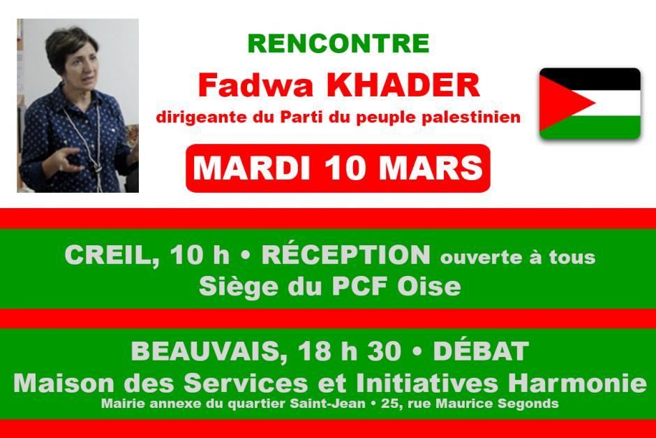 10 mars, Creil, Montataire, Beauvais - Rencontre avec Fadwa Khader