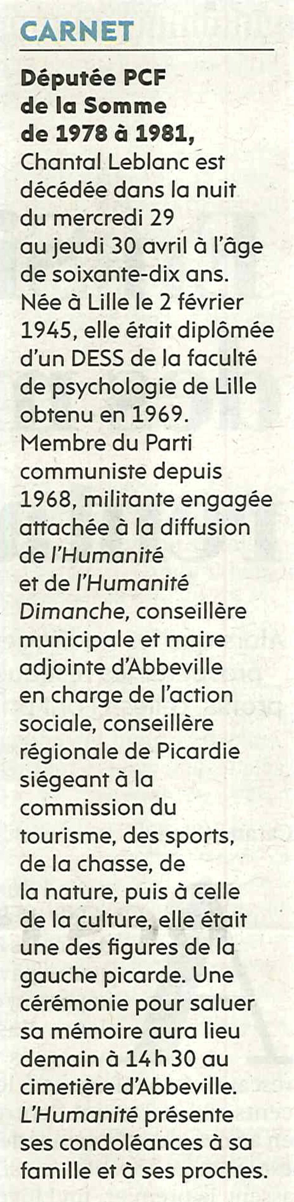 20150504-L'Huma-Abbeville-Carnet : Chantal Leblanc