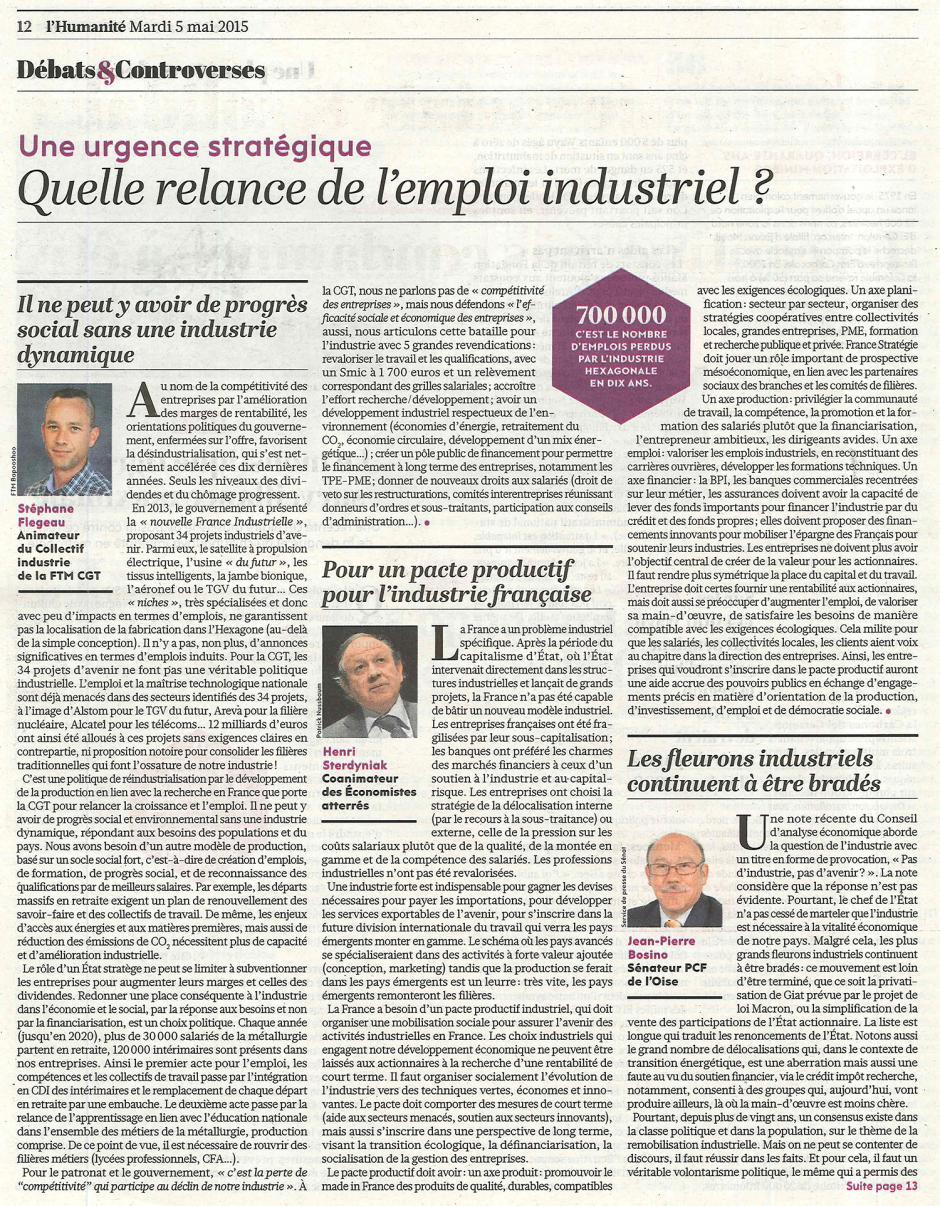 20150505-L'Huma-Quelle relance de l'emploi industriel ? [Jean-Pierre Bosino]