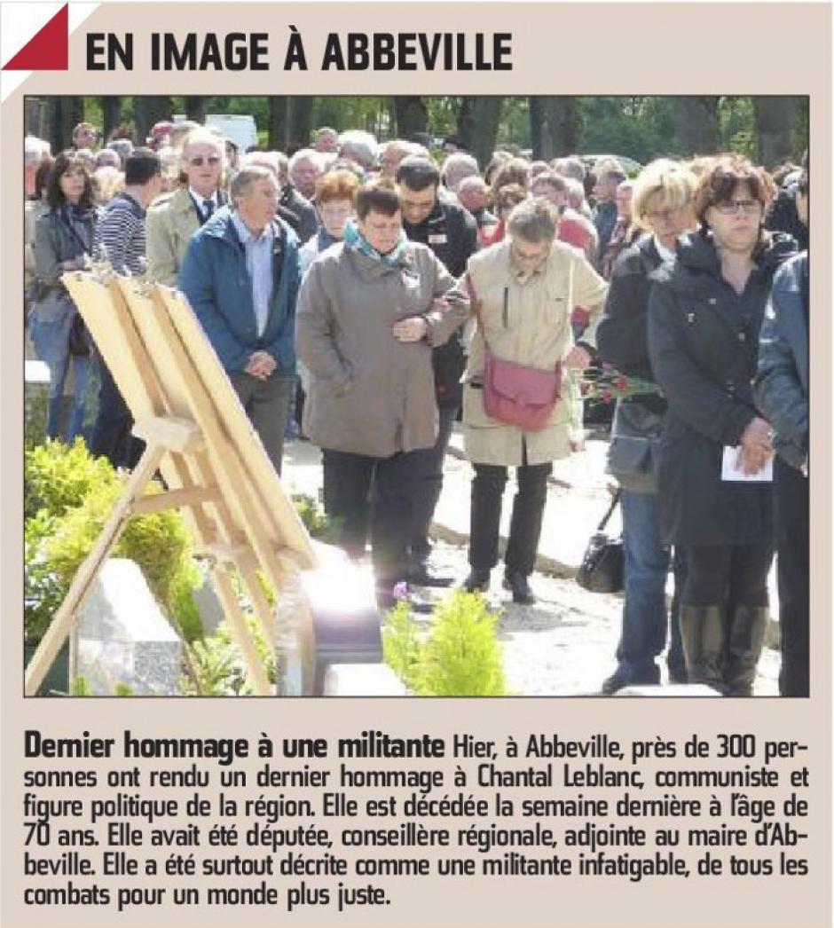 20150506-CP-Abbeville-Dernier hommage à une militante, Chantal Leblanc [pages régionales]