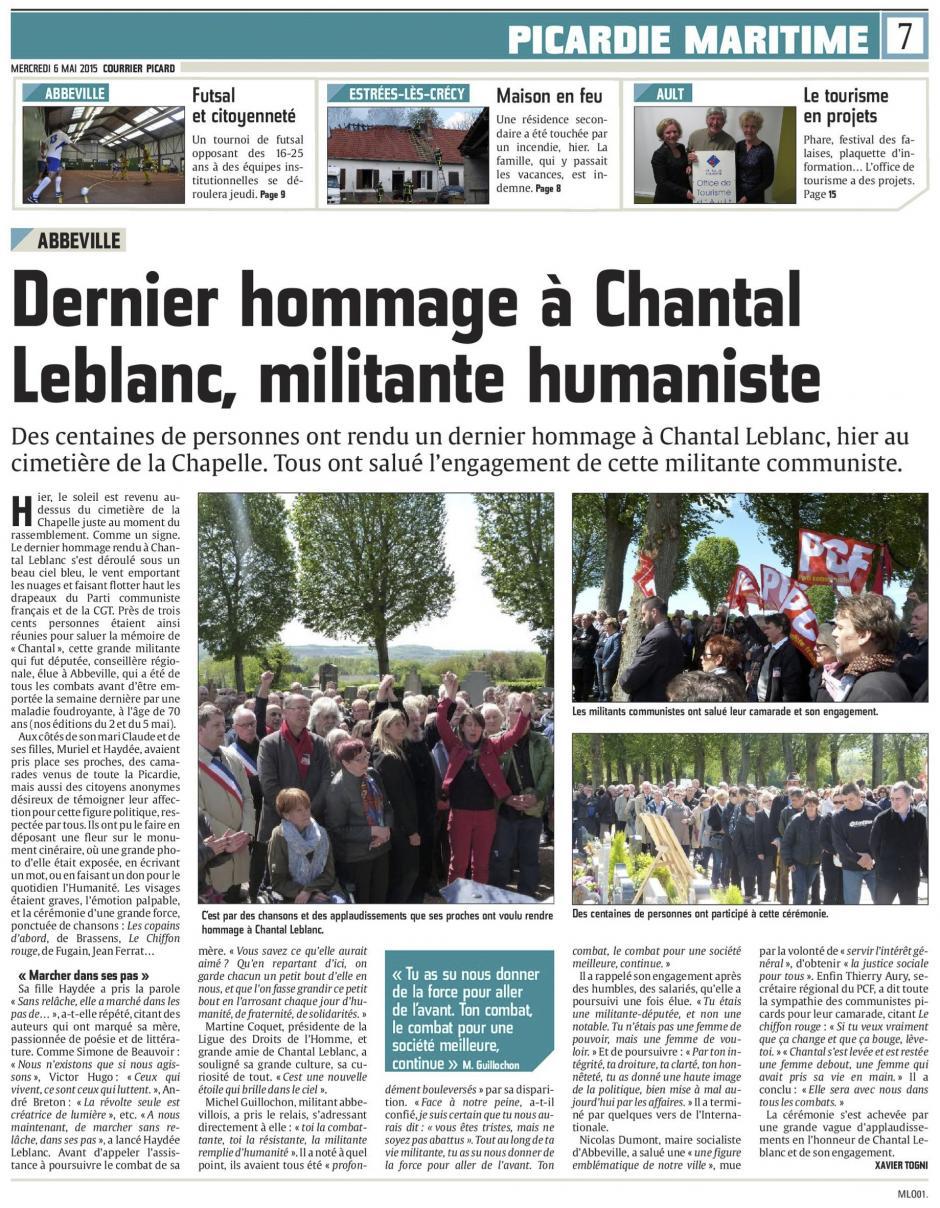 20150506-CP-Abbeville-Dernier hommage à Chantal Leblanc, militante humaniste [édition Picardie maritime]