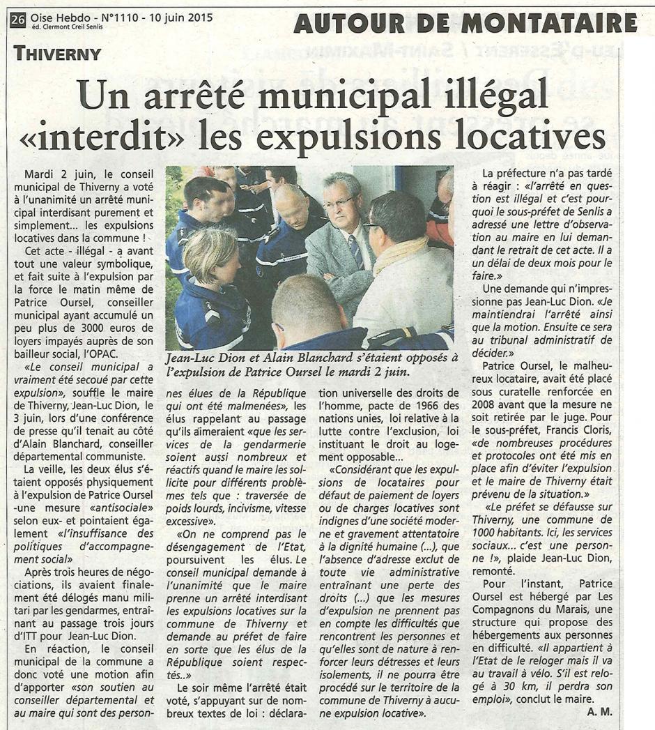 20150610-OH-Thiverny-Un arrêté municipal illégal « interdit » les expulsions locatives