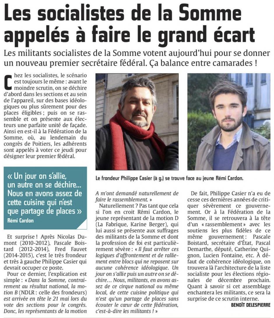 20150611-CP-Somme-Les socialistes du département appelés à faire le grand écart [édition Amiens]