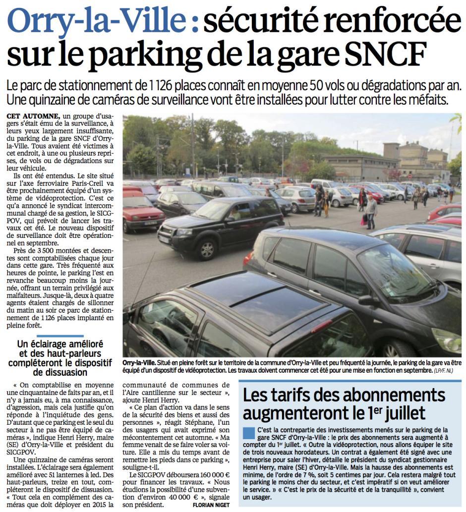 20150615-LeP-Orry-la-Ville-Sécurité renforcée sur le parking de la gare SNCF, les tarifs des abonnements augmenteront dès le 1er juillet