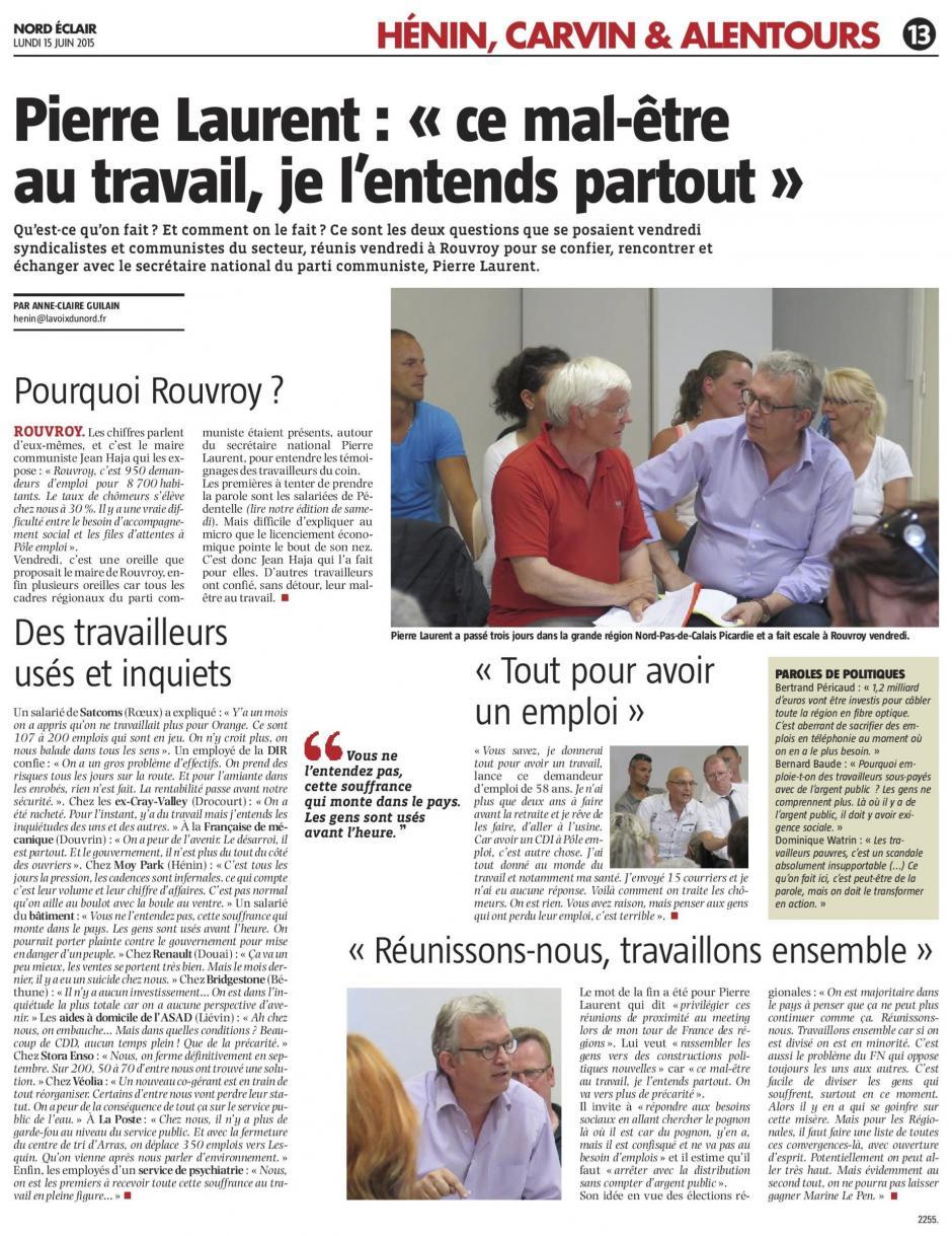20150615-Nord-Éclair-Rouvroy-Pierre Laurent : « ce mal-être au travail, je l'entends partout »