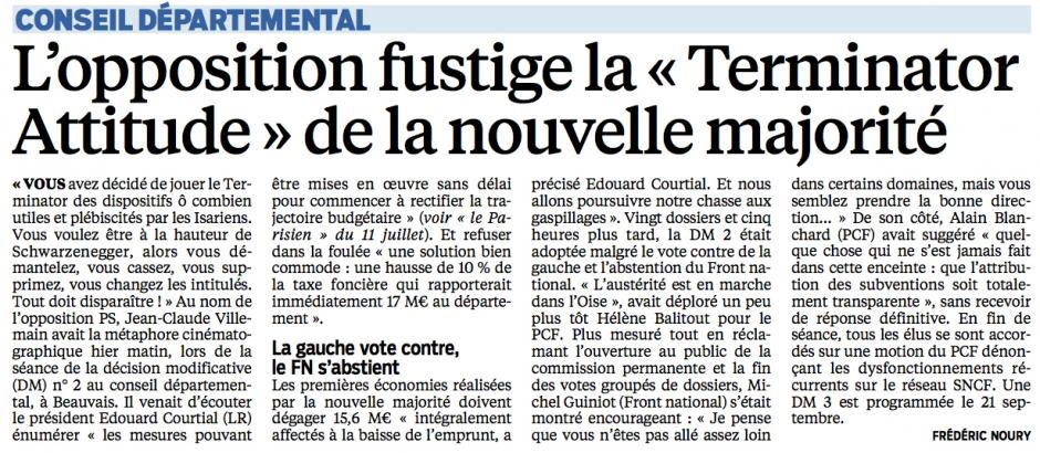 20150716-LeP-Oise-Conseil départemental : l'opposition fustige la « Terminator Attitude » de la nouvelle majorité