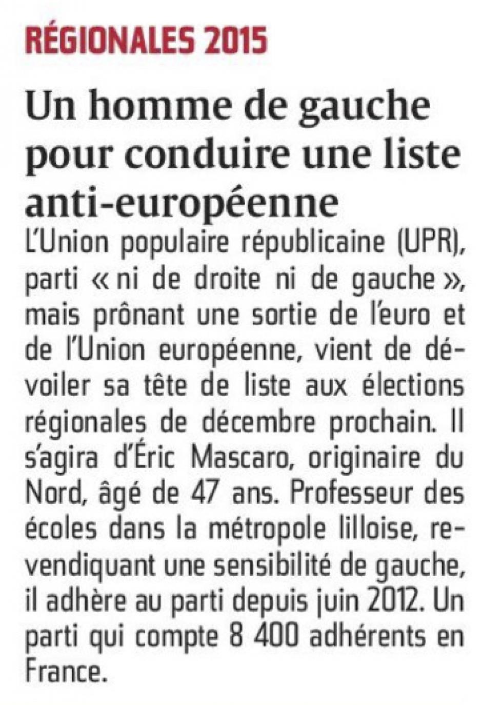 20150831-CP-NPdCP-R2015-Union populaire républicaine ; un homme de gauche pour conduire une liste anti-européenne
