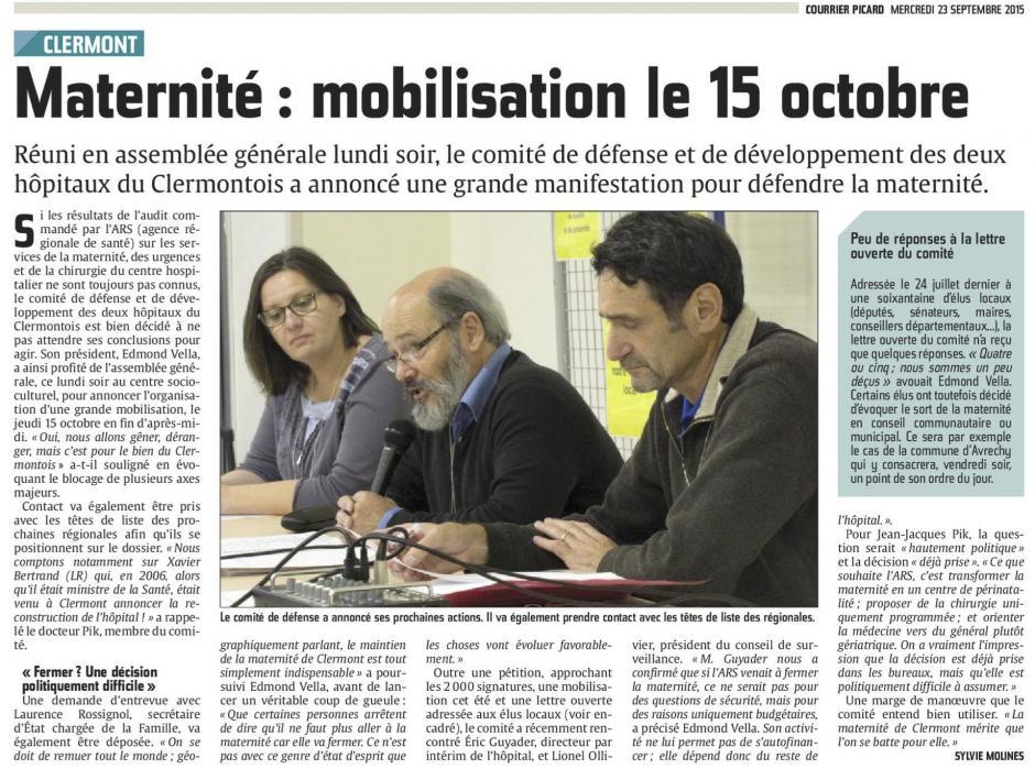 20150923-CP-Clermont-Maternité : mobilisation pour le 15 octobre