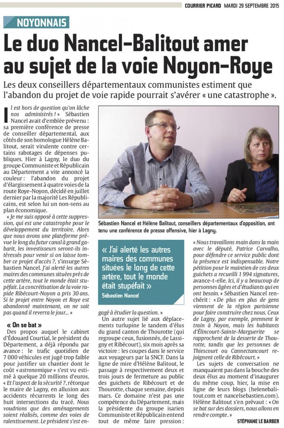 20150929-CP-Noyonnais-Le duo Nancel-Balitout amer au sujet de la voie Noyon-Roye