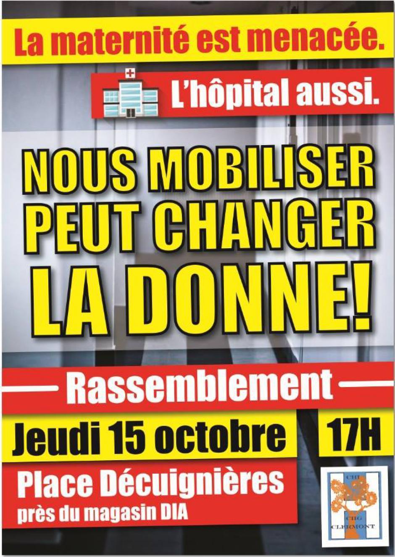 15 octobre, Clermont - Comité de défense et de développement des hôpitaux du Clermontois-Rassemblement