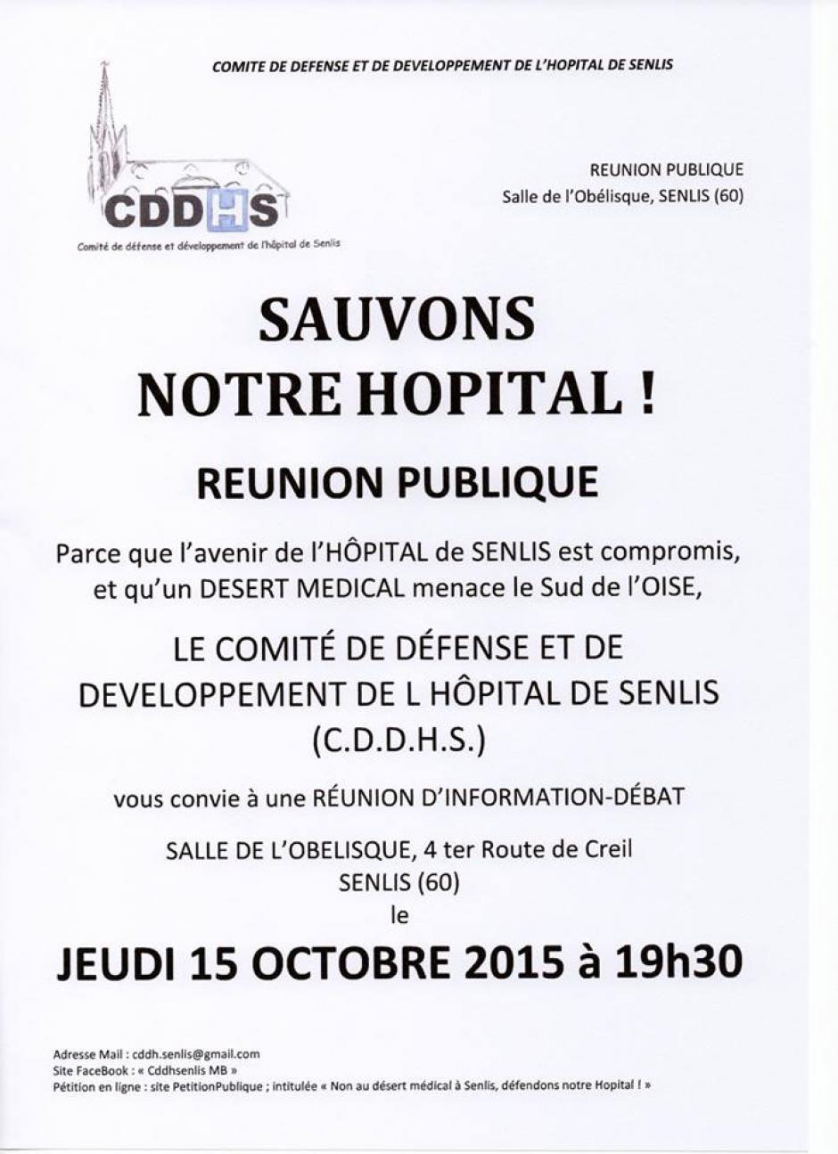 15 octobre, Senlis - Comité de défense-Réunion publique « Sauvons notre hôpital »